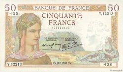 50 Francs CÉRÈS modifié FRANCE  1940 F.18.38 SUP+