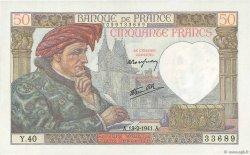 50 Francs JACQUES CŒUR FRANCE  1941 F.19.06 SUP+