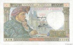 50 Francs JACQUES CŒUR FRANCE  1941 F.19.13 pr.TTB