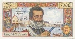 5000 Francs HENRI IV FRANCE  1957 F.49.04 SPL+