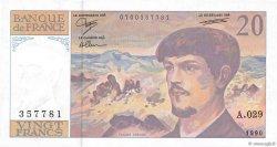 20 Francs DEBUSSY à fil de sécurité FRANCE  1990 F.66bis.01 pr.NEUF
