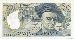50 Francs QUENTIN DE LA TOUR FRANCE  1982 F.67.08 TTB+