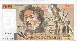 100 Francs DELACROIX modifié FRANCE  1984 F.69.08b SUP+