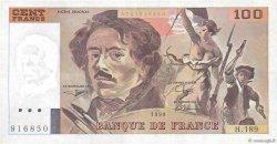 100 Francs DELACROIX imprimé en continu FRANCE  1990 F.69bis.02e2 SUP