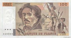 100 Francs DELACROIX imprimé en continu FRANCE  1993 F.69bis.08c SUP