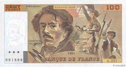 100 Francs DELACROIX imprimé en continu FRANCE  1993 F.69bis.08c NEUF