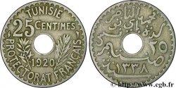 TUNISIE - PROTECTORAT FRANÇAIS 25 Centimes AH1338 1920 Paris TB+