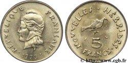NEW HEBRIDES (VANUATU since 1980) 5 Francs 1970 Paris MS