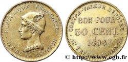 REUNION - Third Republic 50 Centimes 1896 sans atelier XF