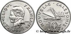 NOUVELLE CALÉDONIE 10 Francs I.E.O.M. Marianne / paysage maritime néo-calédonien avec pirogue à voile 1992 Paris