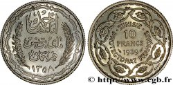 TUNISIA - French protectorate Essai 10 Francs argent au nom de Ahmed Bey AH 1358 1939 Paris