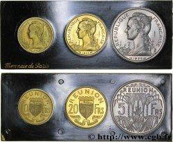 ÎLE DE LA RÉUNION Boîte de 5, 10 et 20 francs ESSAI 1955 Paris