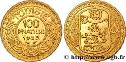 TUNISIA - FRENCH PROTECTORATE 100 Francs or frappée au nom du Bey Ahmed 1935 Paris AU