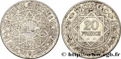 MOROCCO - FRENCH PROTECTORATE 20 Francs AH 1352 1933 Paris XF