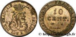 GUYANE FRANÇAISE 10 Cent. (imes) monograme de Louis-Philippe 1846 Paris SUP
