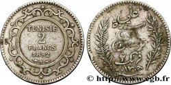 TUNISIA - French protectorate 2 Francs AH1309 1892 Paris - A VF
