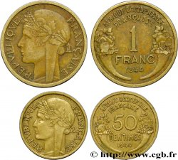 AFRICA OCCIDENTALE FRANCESA  Lot 50 Centimes et 1 Franc Morlon 1944 Londres