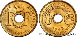 FRENCH EQUATORIAL AFRICA - FREE FRENCH FORCES 10 Centimes 1943 Prétoria AU