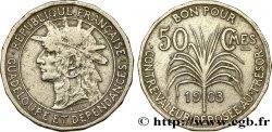 GUADELOUPE Bon pour 50 Centimes indien caraïbe / canne à sucre 1903  VF