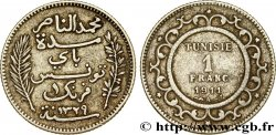 TUNISIA - FRENCH PROTECTORATE 1 Franc AH1329 1911 Paris VF