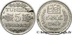 TUNISIE - PROTECTORAT FRANÇAIS 5 Francs AH 1353 1934 Paris TTB+