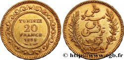 TUNISIA - French protectorate 20 Francs or Bey Ali AH1308 1891 Paris XF