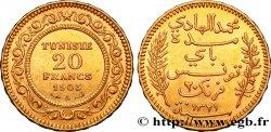 TUNISIE - PROTECTORAT FRANÇAIS 20 Francs or Bey Mohamed El Hadi AH1321 1903 Paris TTB+