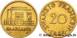 TERRITOIRE DE LA SARRE 20 Franken 1954 Paris SUP