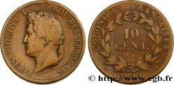 COLONIE FRANCESI - Luigi Filippo, per Guadalupa 10 Centimes 1841 Paris MB