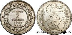 TUNISIA - FRENCH PROTECTORATE 2 Francs AH1329 1911 Paris - A AU