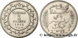 TUNEZ - Protectorado Frances 2 Francs AH1329 1911 Paris - A EBC
