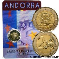 ANDORRA Coin-card 2 Euro 25e ANNIVERSAIRE DE LA SIGNATURE DE LACCORD DOUANIER AVEC LUNION EUROPÉENNE 2015