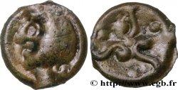 """GALLIA BELGICA - SUESSIONES (Area of Soissons) Potin aux trois volutes, """"type de Pommiers"""" à la tête chauve XF"""