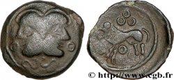 GALLIEN - BELGICA - SUESSIONES (Region die Soissons) Bronze à la tête janiforme, classe II