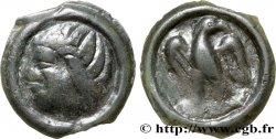 GALLIA - CARNUTES (Area of the Beauce) Potin à l'aigle de face, chevelure raide