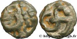 ÉDUENS (BIBRACTE, région du Mont-Beuvray) Potin à l'hippocampe, tête à la chevelure bouletée TTB/TTB+