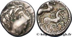 PICTONS / BITURIGES / CARNUTES - CENTRE-OUEST, Incertaines Drachme aux deux chevaux, tête moustachue, série A2 TTB+/SUP