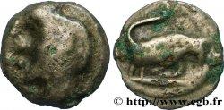 """TURONS (Région de Touraine) Potin """"à la tête diabolique"""", taureau à droite"""