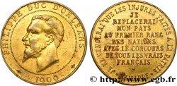 III REPUBLIC Médaille au module de 10 centimes pour le duc d'Orléans AU