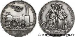 TRANSPORTS (TRAINS, BUS, TRAMWAYS, BATEAUX...) Médaille des Chemins de Fer de l'Ouest originale en argent