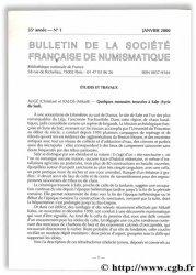 Bulletin de la Société Française de Numismatique - 55e année, n° 1 Collectif