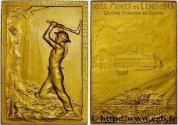 TROISIÈME RÉPUBLIQUE Plaquette en or, Mines de Lens - production 1913