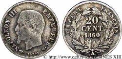 20 centimes Napoléon III, tête nue 1860 Paris F.148/14 VF20