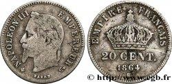 20 centimes Napoléon III, tête laurée, petit module 1864 Strasbourg F.149/2 B12