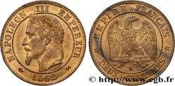 Deux centimes Napoléon III, tête laurée, buste définitif 1862 Bordeaux F.108A/7 fST63