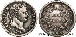 Demi-franc Napoléon Ier tête laurée, République française, buste fin 1808 Lyon F./ TTB48