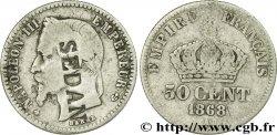 50 centimes Napoléon III, tête laurée, contremarqué SEDAN 1868 Paris F.188/19 B12