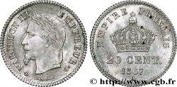 20 centimes Napoléon III, tête laurée, grand module 1867 Paris F.150/1 SUP62