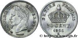 20 centimes Napoléon III, tête laurée, petit module 1866 Bordeaux F.149/6 MS63