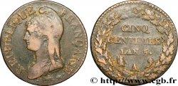 Cinq centimes Dupré, grand module 1797 Paris F.115/1 TB30